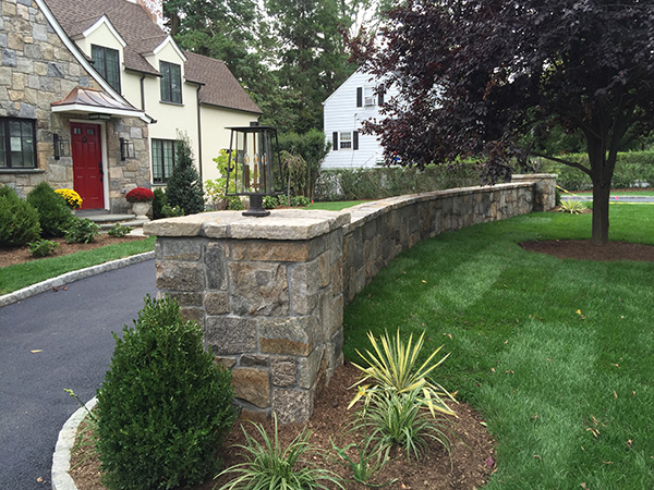 Paved Mason Retaining Wall